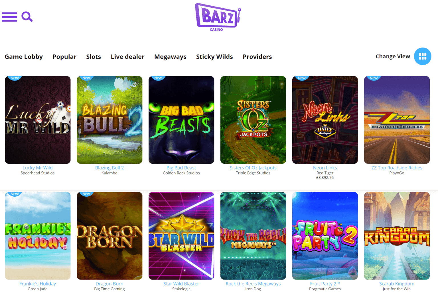 Another screenshot of the Barz website showing the latest additions to the casino. Most of the new games are slots, and they all have a unique thumbnail and logo
