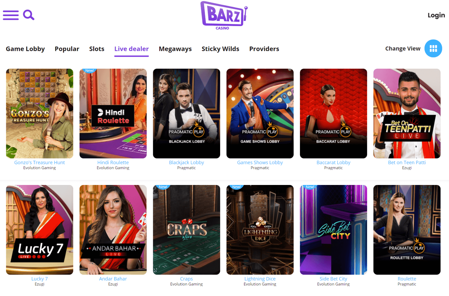 A screenshot showing some of the various live casino games you can play at Barz