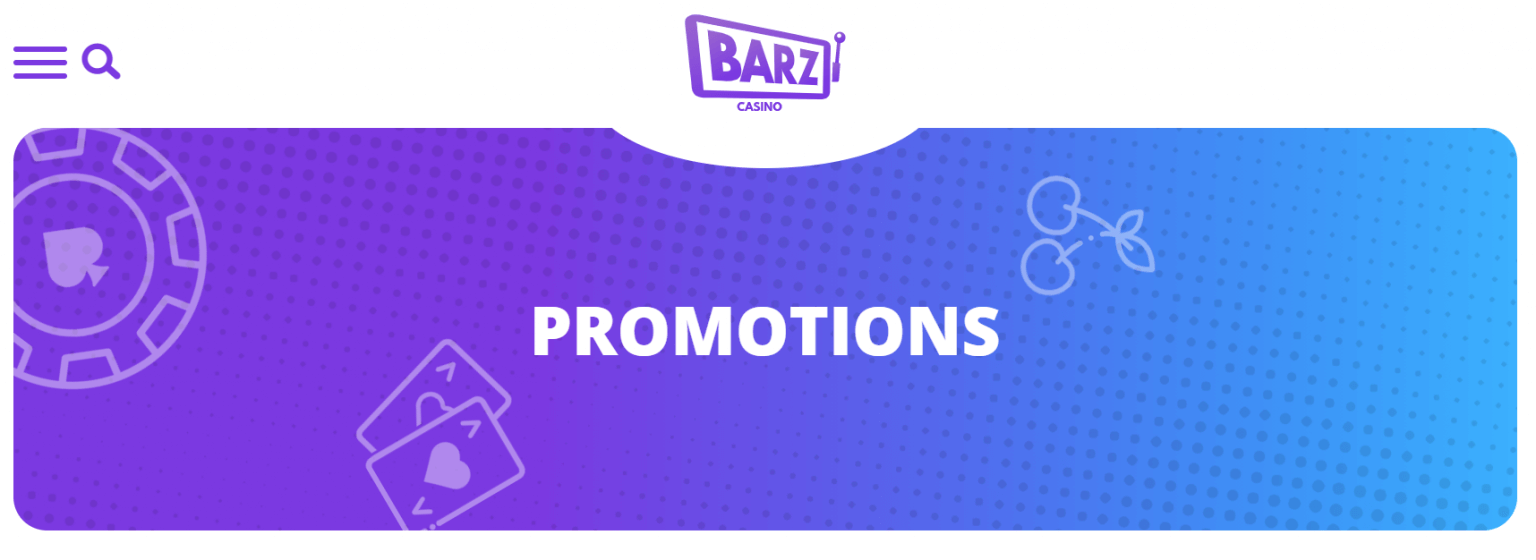 """A screenshot from Barz showing the company logo and a blue box with the word """"Promotions"""" written inside"""