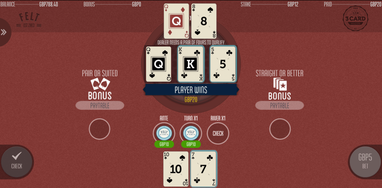A screenshot of Felt Games' Three Card Hold'em casino game. The screenshot shows a winning hand where the player has a flush, beating the dealer's pair of queens