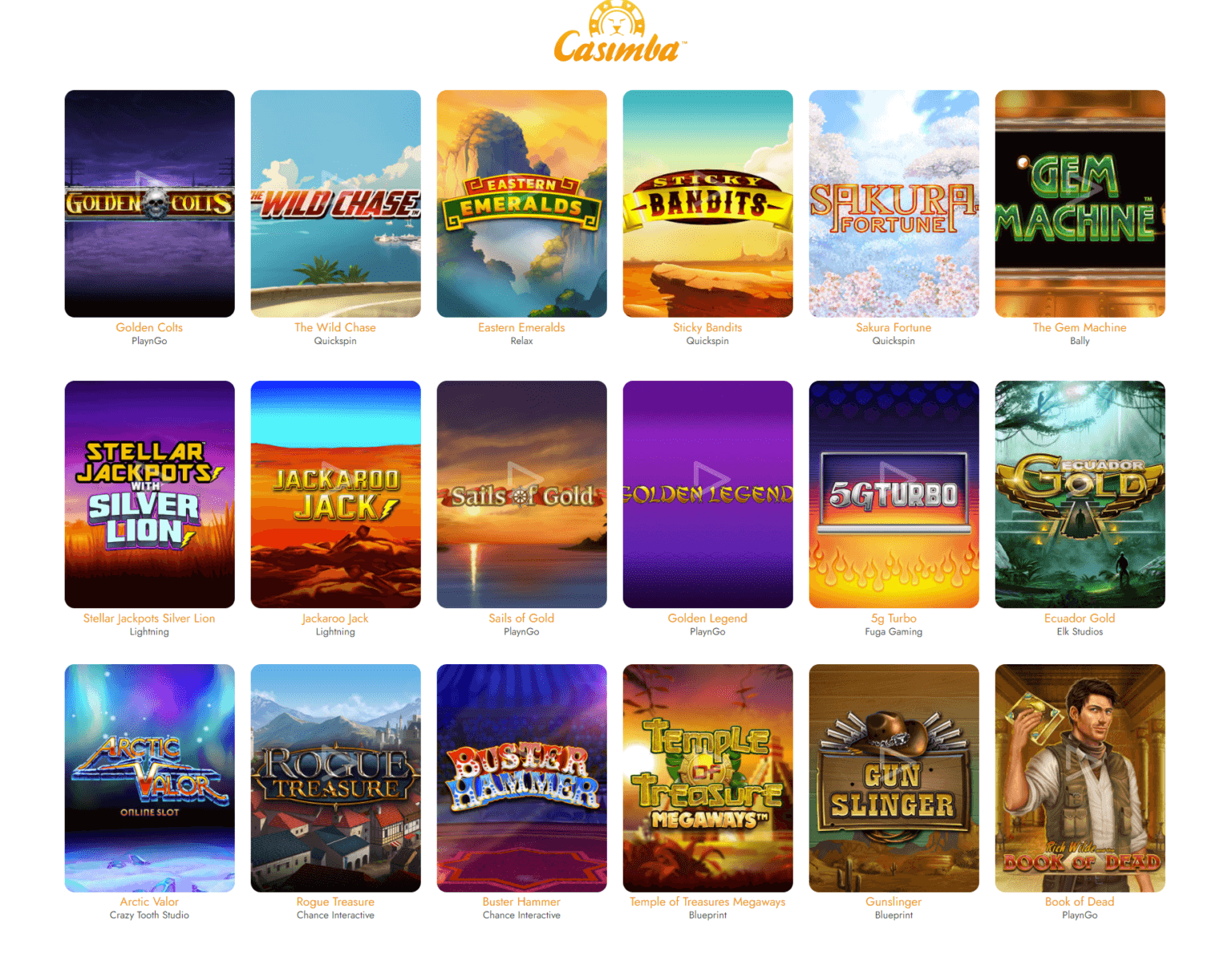 A list of some of the slots you can play at Casimba