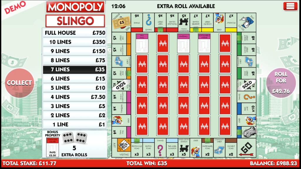 A screenshot of the Monopoly Slingo casino game
