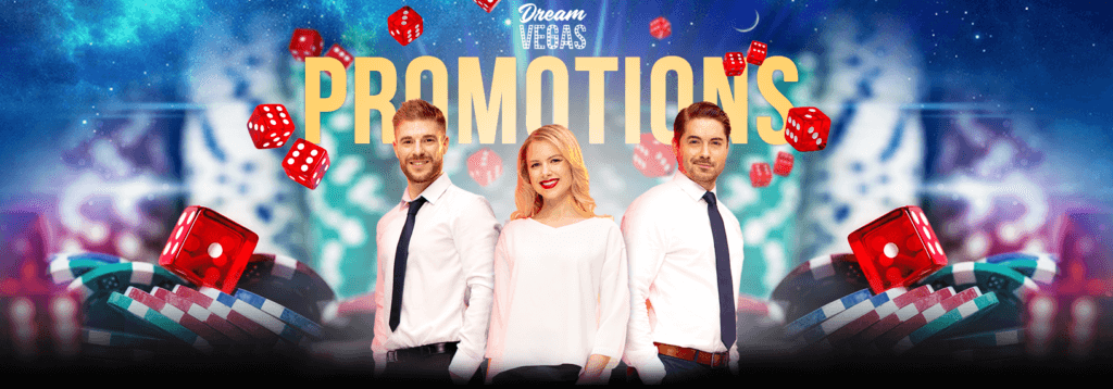 A Dream Vegas promotional banner with three smiling people, poker chips, and several dice
