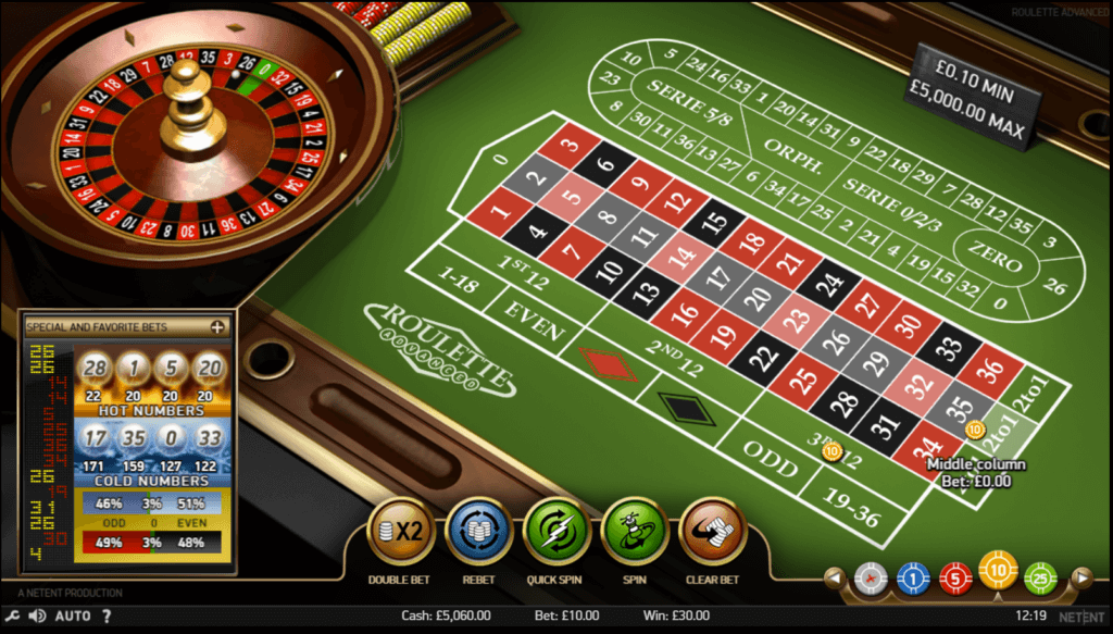 A screenshot of the Roulette Masters casino game by NetEnt, showing a betting table and roulette wheel