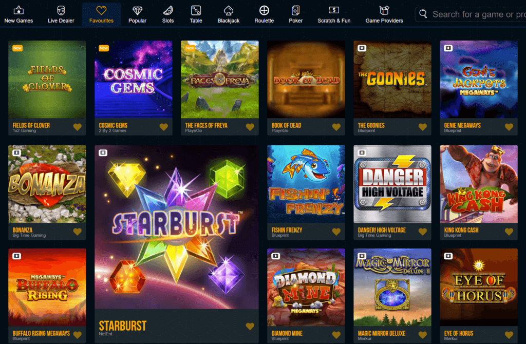 A screenshot of the various slot games you can play Dream Vegas