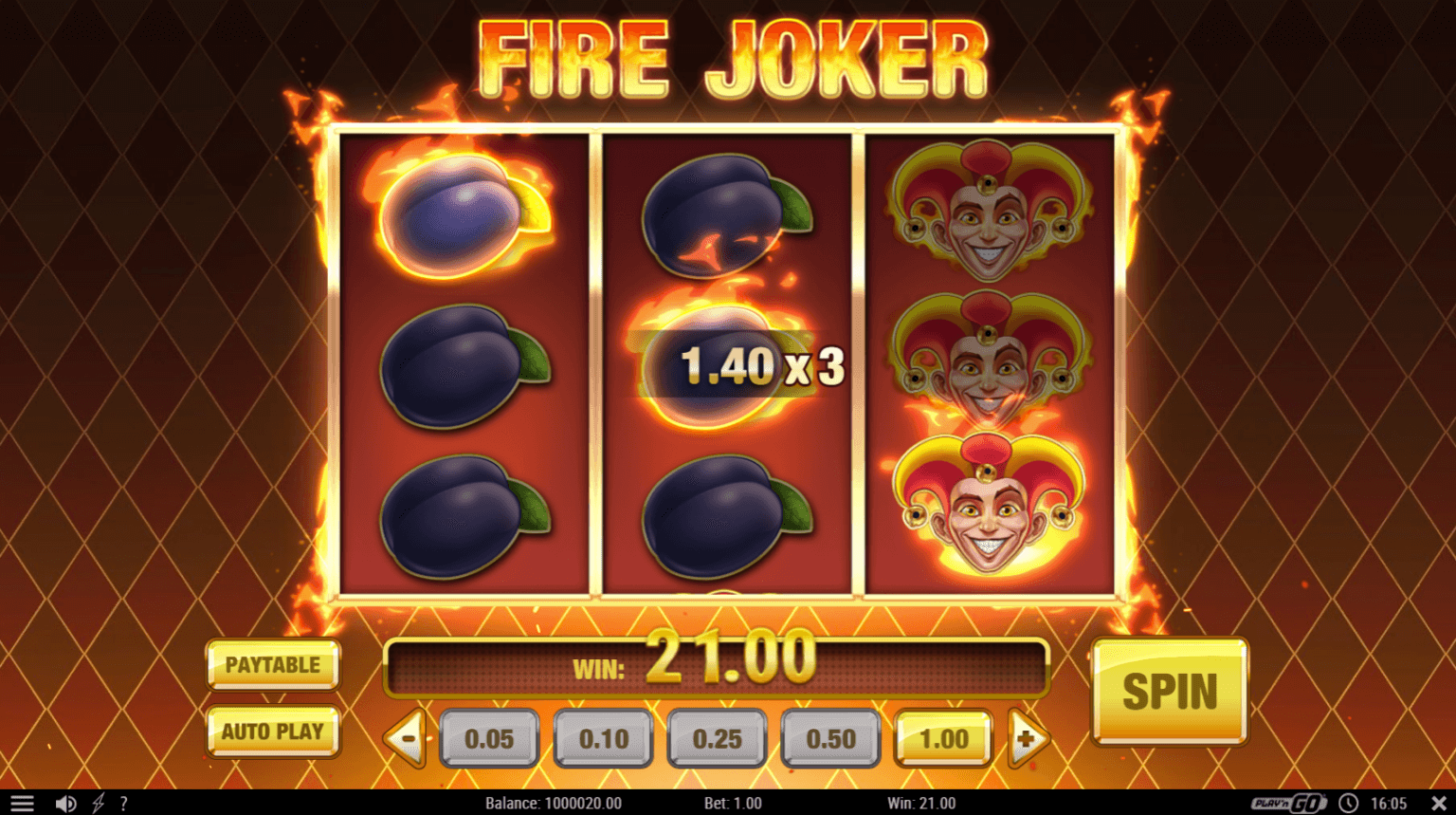 Fire Joker is a three reel slot with five fixed paylines