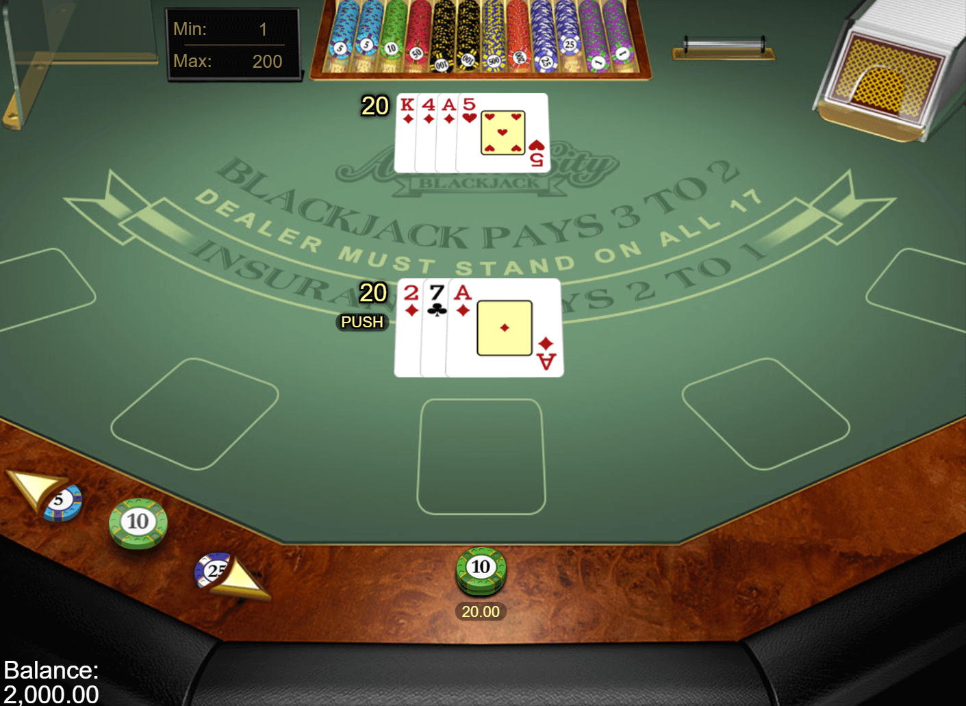 A screenshot of Atlantic City Blackjack Gold showing a push between the dealer and the player