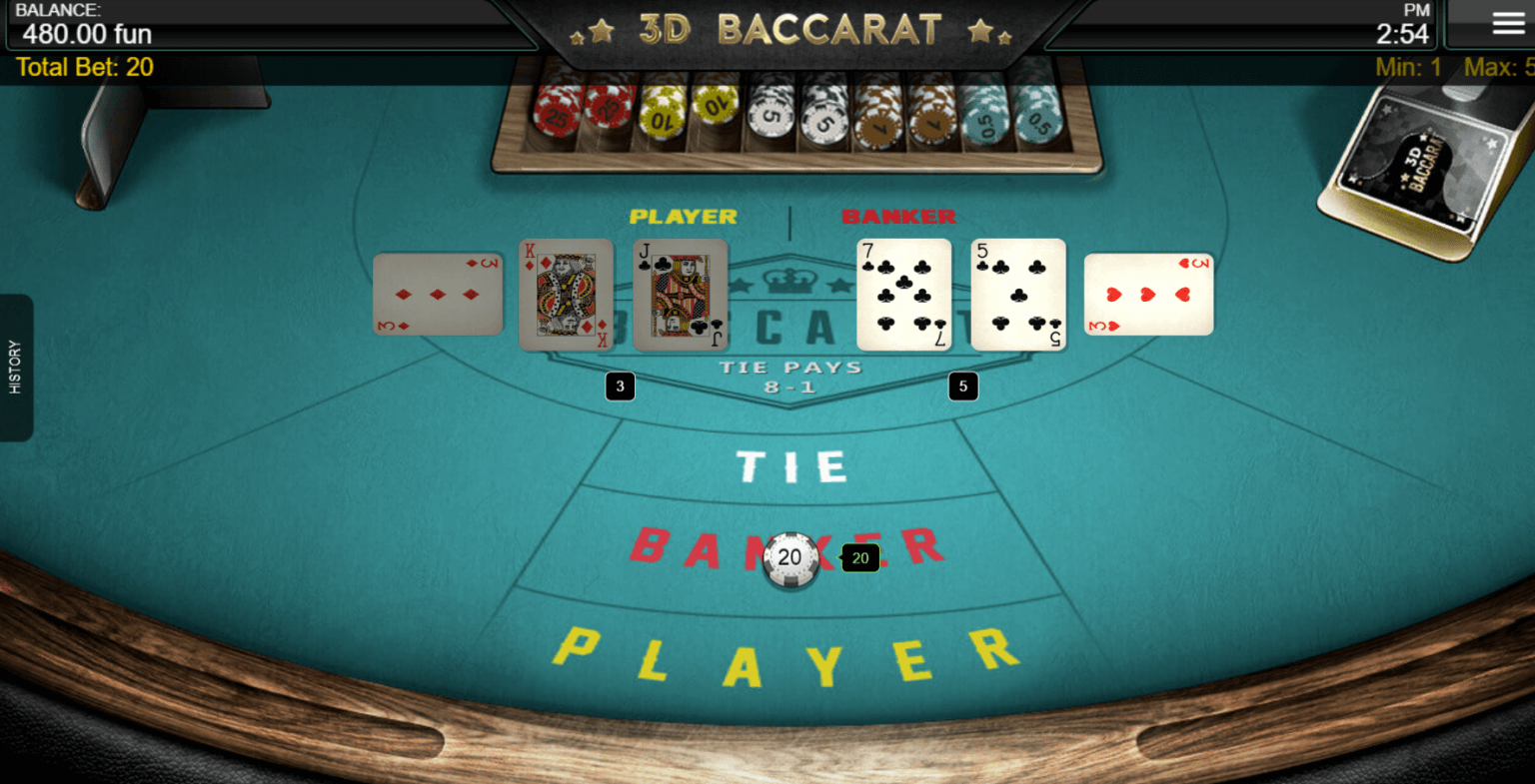 A screenshot of 3D Baccarat where the banker beats the player