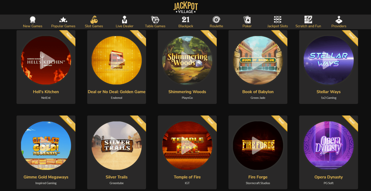 A screenshot showing a great selection of the slots you can play at the online casino