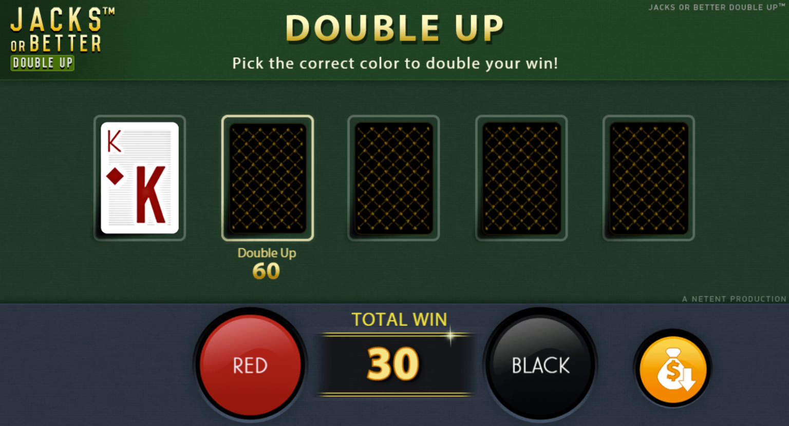 A screenshot of the Jacks or Better casino game. Once you get a winning hand, you can gamble your winnings in a game of red or black