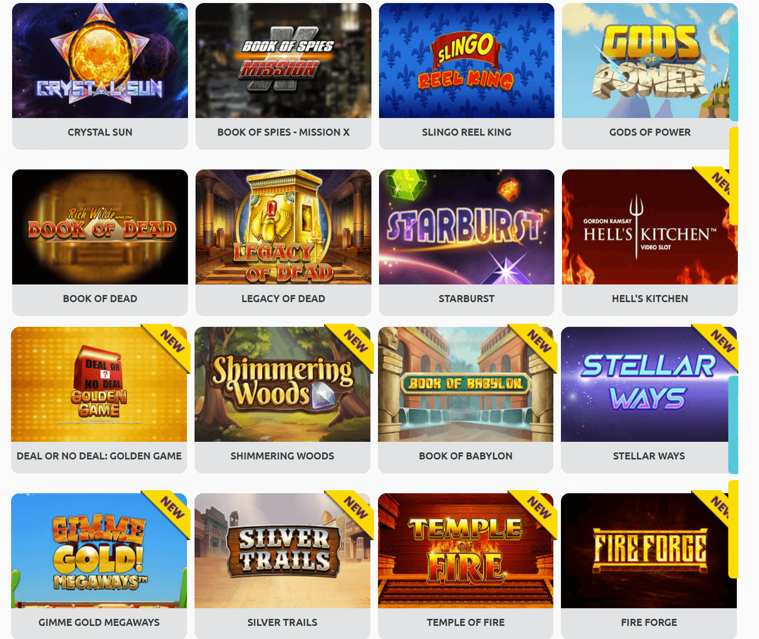 A screenshot of some of the slots you can play Miami Dice