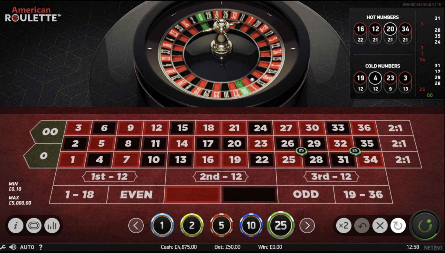 A screenshot of NetEnt's American Roultte casino game. The image shows the betting table and roulette wheel.