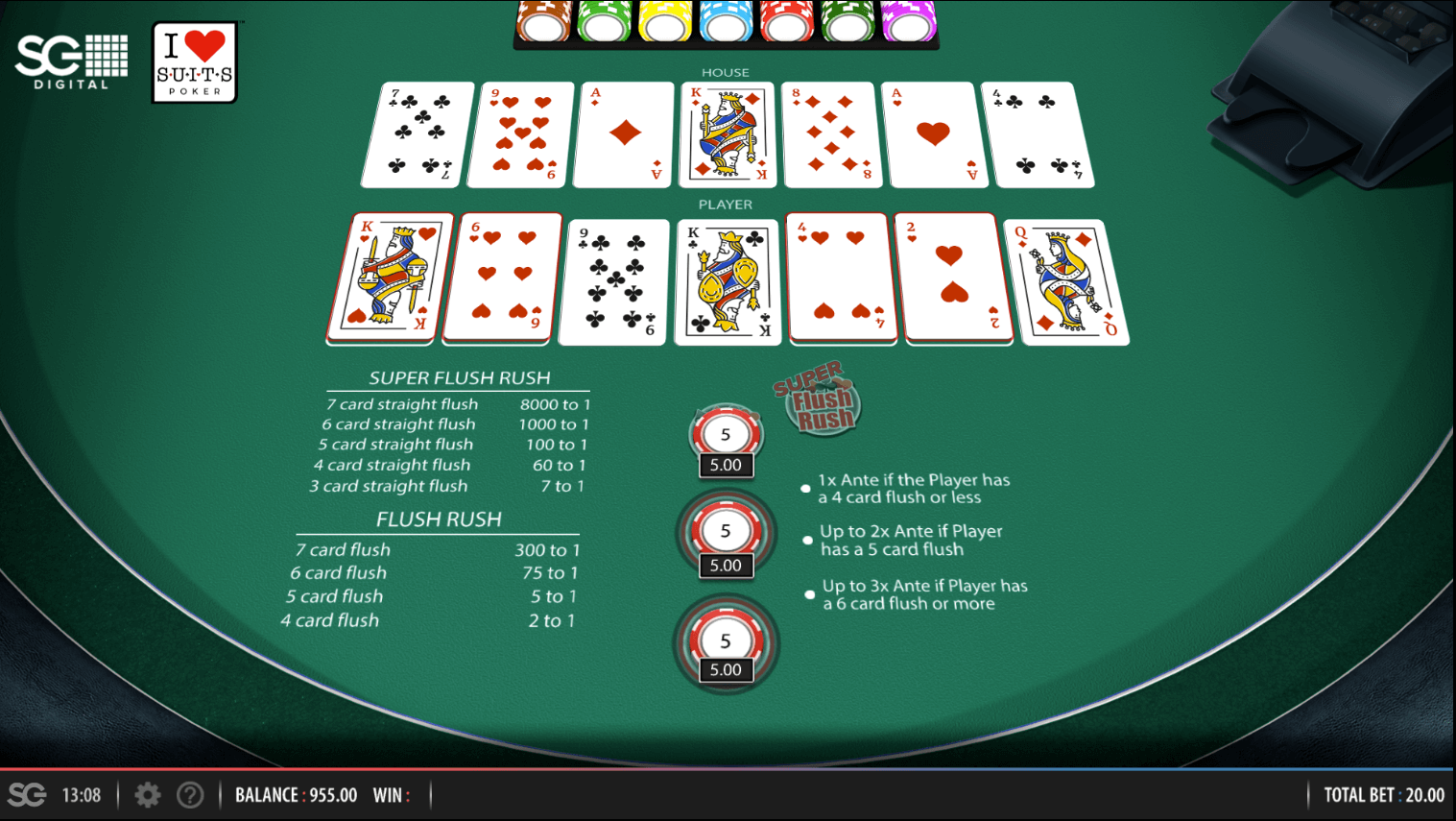 A screenshot of the I Luv Suits poker game. There are five cards for the player, and five for the dealer. Whoever has the better flush wins!