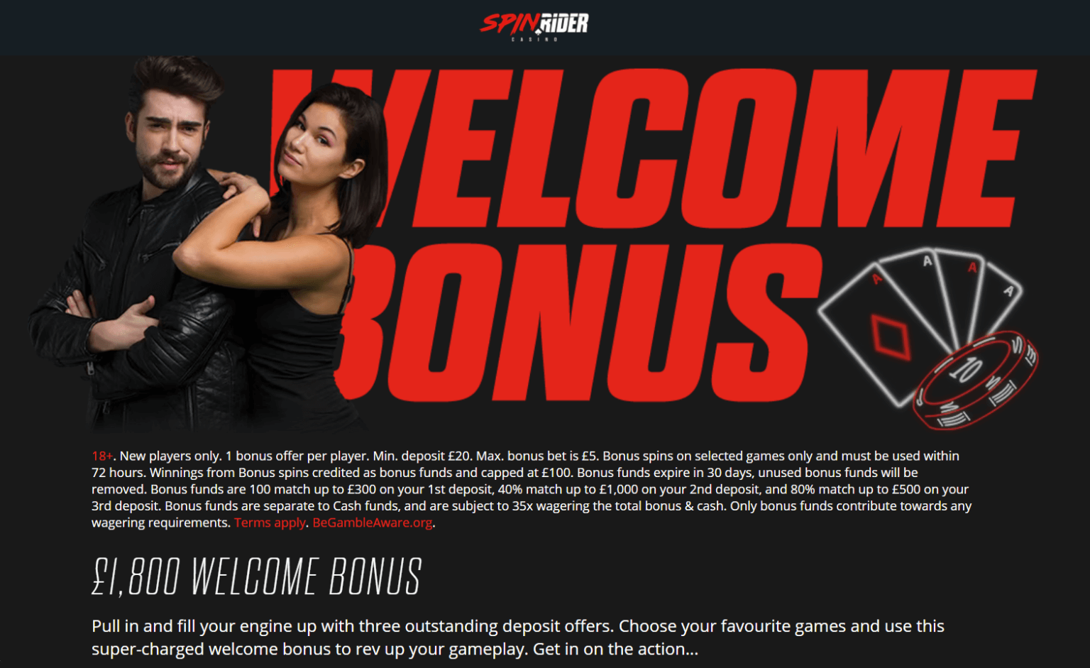 A screenshot of two lovely people in front of the welcome bonus sign