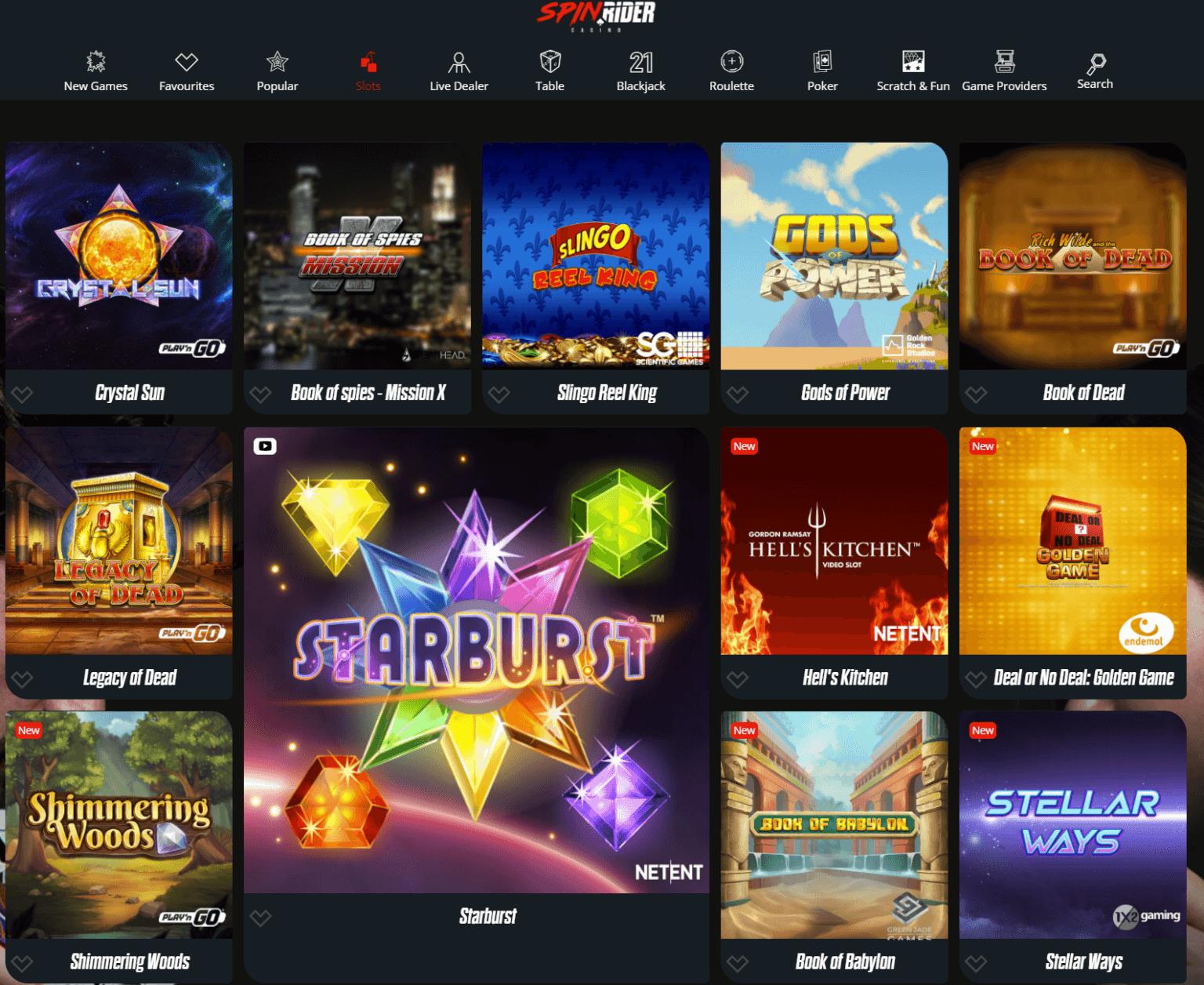 A screenshot showing the various slots you can play at Spin Rider