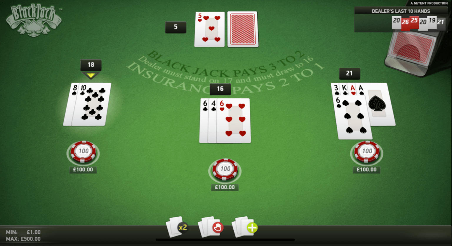 A screenshot of the NetEnt Blackjack game where the user is playing three hands at once