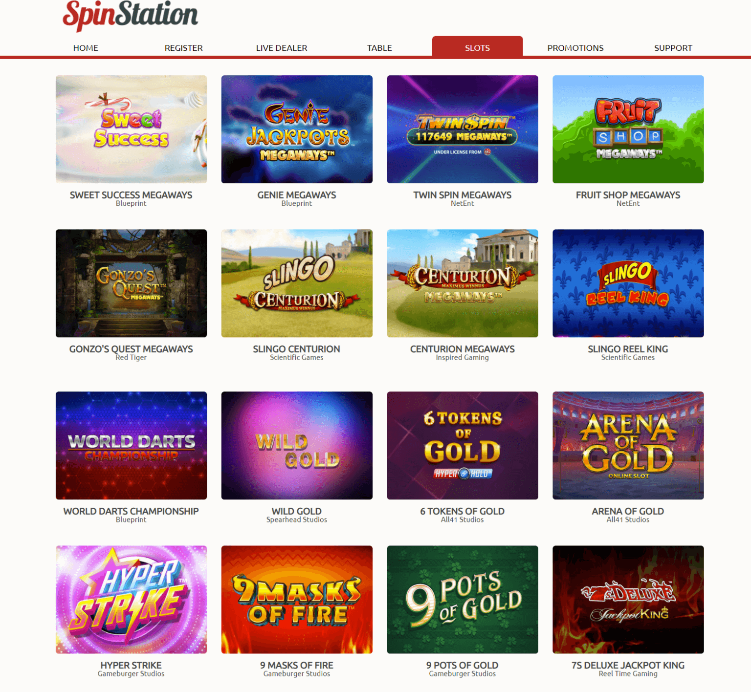 A selection of the various slots you can play at Spin Station