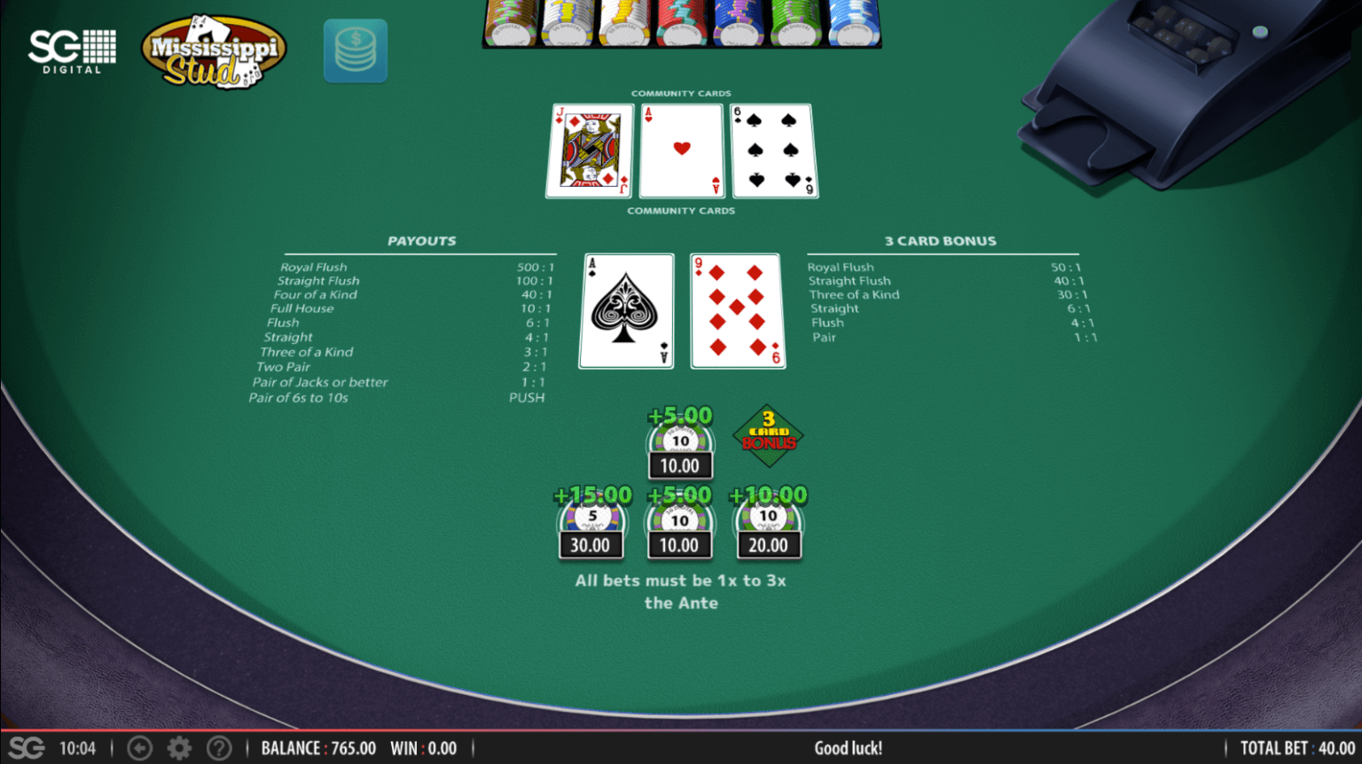 A screenshot of Mississippi Stud Poker where the player wins with a pair of Aces