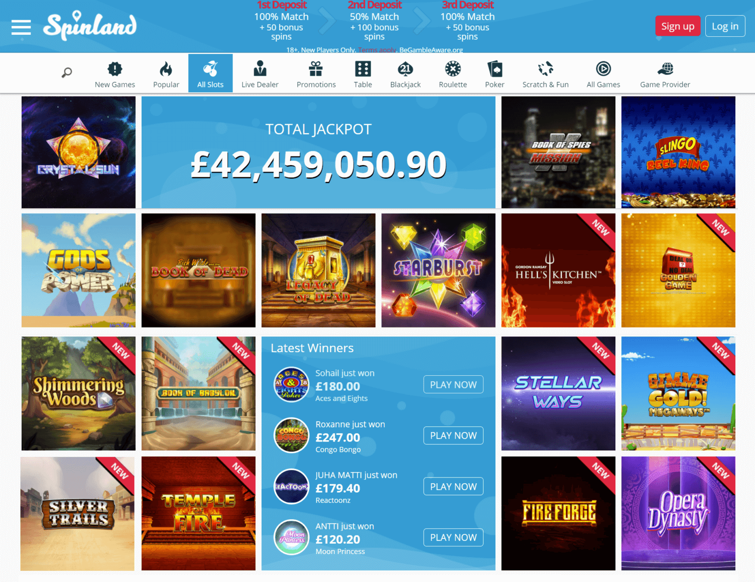A screenshot of the Spinland slots page