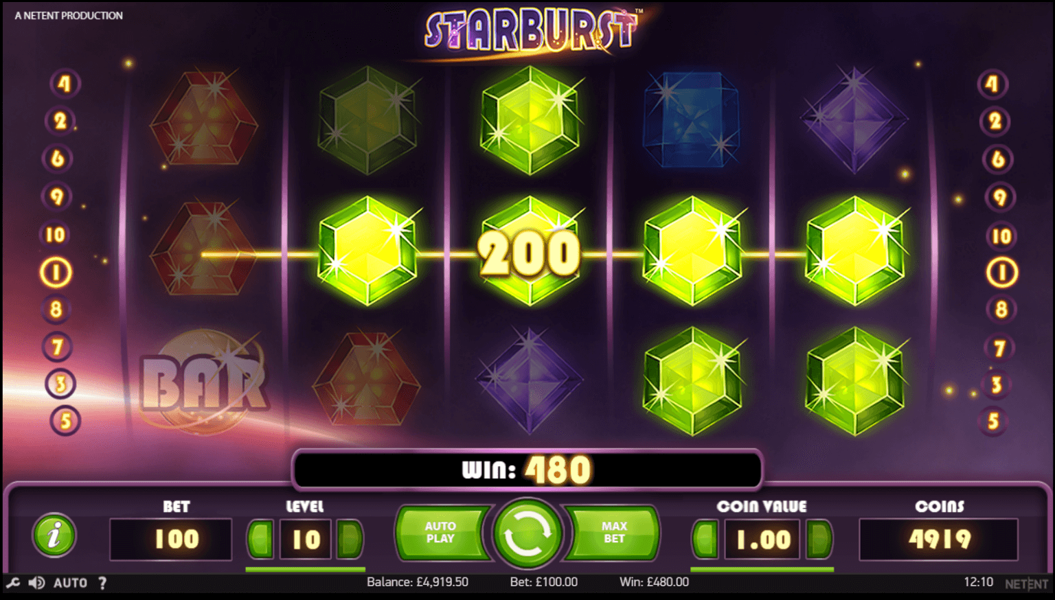 A screenshot of the incredible Starburst Slot