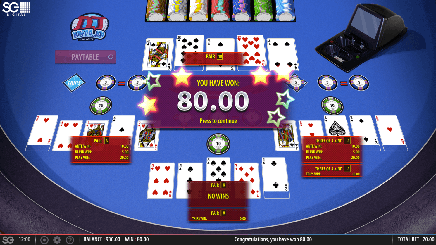 A screenshot of DJ Wild Stud Poker where the player won two of three hands played