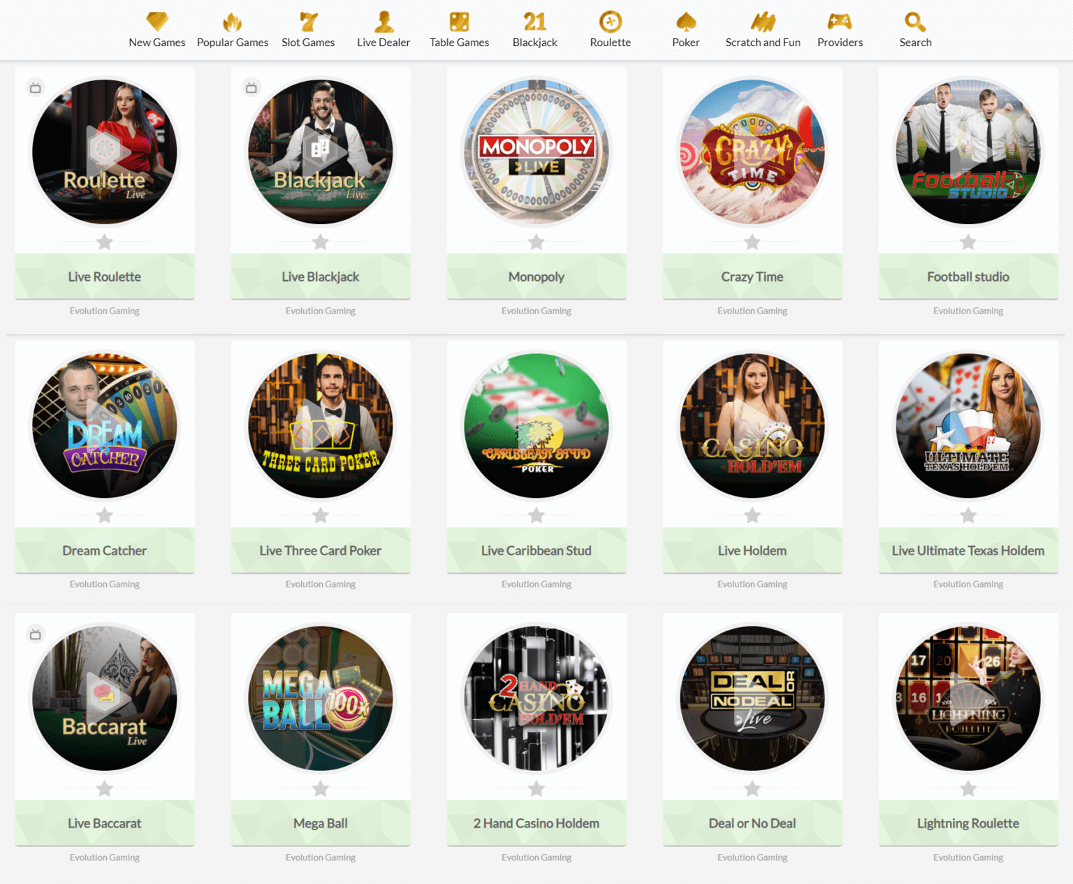 A screenshot of the live casino games you can play at Temple Nile
